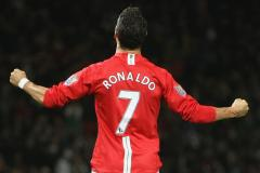 Cristiano Ronaldo in his iconic No.7 shirt for Man Utd
