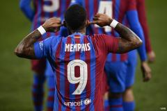Memphis Depay celebrates scoring for Barcelona in La Liga