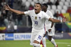 PSG's Kylian Mbappe celebrates scoring for France in the 2021 Nations League semi-final v Belgium