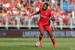 Ibrahim Konate in pre-season action for Liverpool