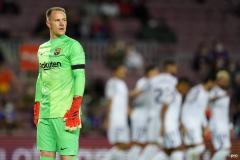 Marc-Andre ter Stegen looks on as Granada celebrate scoring against Barcelona