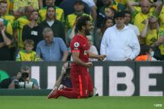 Mohamed Salah celebrates for Liverpool against Norwich in the Premier League