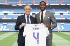 Real Madrid new signing David Alaba with president Florentino Perez