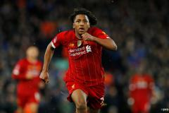 Yasser Larouci playing for Liverpool against Everton in an FA Cup tie