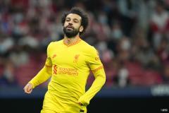 Mohamed Salah in action, Liverpool v Atletico Madrid