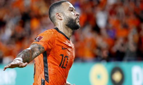 Memphis Depay celebrates in Netherlands' 4-0 World Cup qualifying win over Montenegro