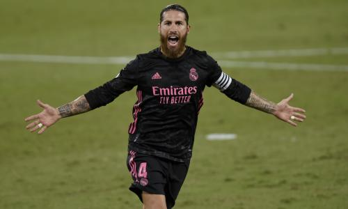 Sergio Ramos celebrates scoring for Real Madrid against Sevilla in La Liga, 2020/21