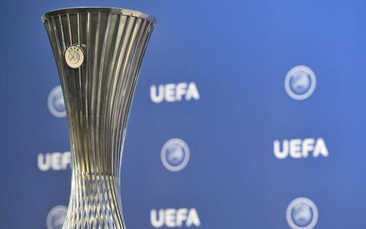 UEFA Europa Conference League trophy ahead of the inaugural season of the new European competition