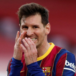 Lionel Messi playing for Barcelona in La Liga, 2020/21