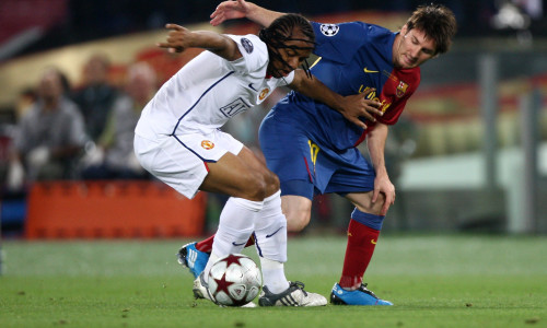 Anderson battles Lionel Messi in the Champions League final