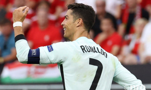 Juventus star Cristiano Ronaldo celebrates scoring for Portugal against Hungary at Euro 2020
