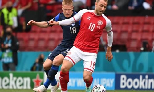 Christian Eriksen playing against Finland at Euro 2020