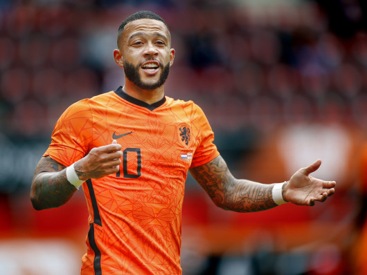 Lyon's Memphis Depay playing for Netherlands against Georgia