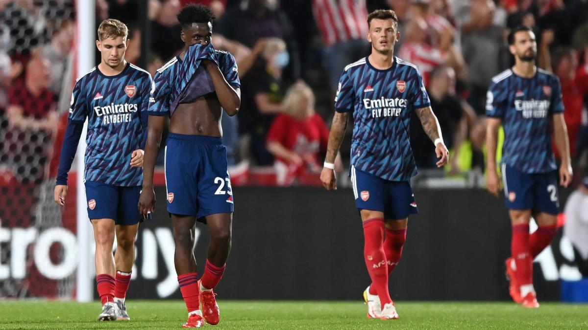 Albert Sambi Lokonga during Arsenal's 2-0 loss to Brentford in the Premier League