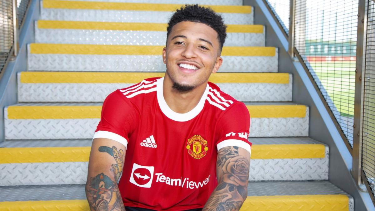 Jadon Sancho after signing for Man Utd from Borussia Dortmund