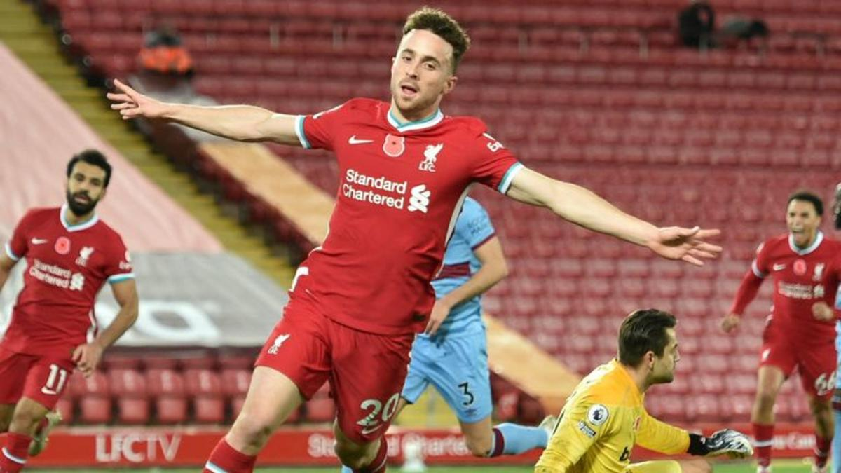 How does Diogo Jota compare to Liverpool's starting trio?