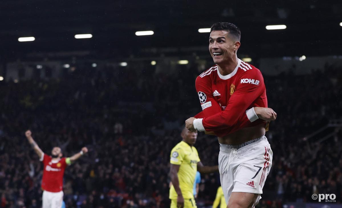 Cristiano Ronaldo celebrates for Man Utd vs Villarreal in the Champions League