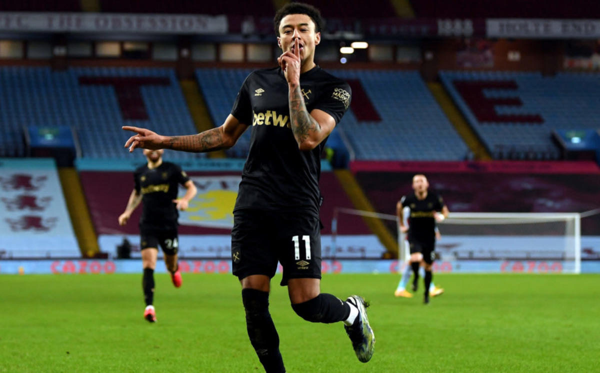 Jesse Lingard celebrates scoring on his West Ham debut against Aston Villa