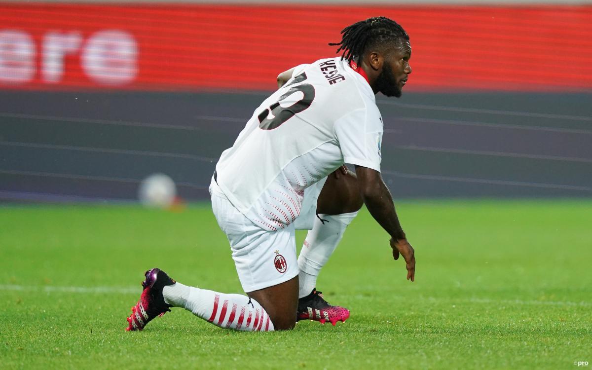 Milan midfielder Franck Kessie playing against Atalanta is Serie A