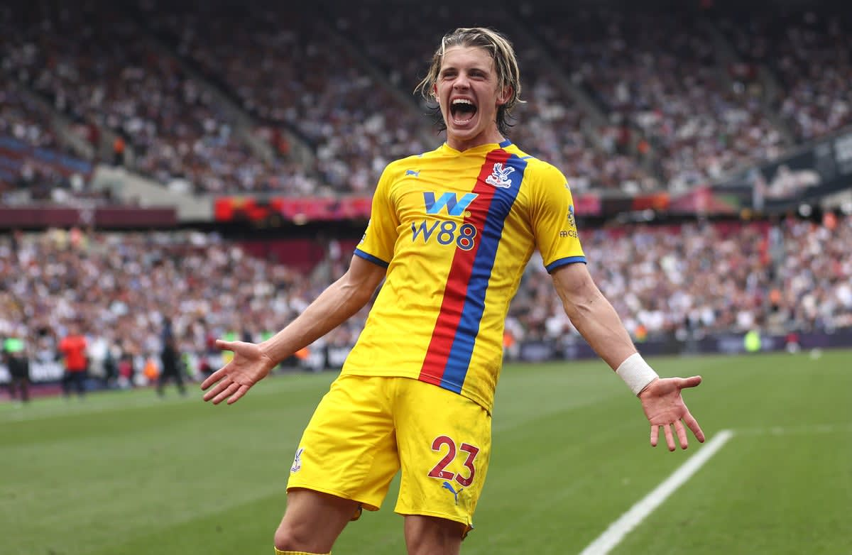 Chelsea loanee Conor Gallagher celebrates scoring for Crystal Palace against West Ham