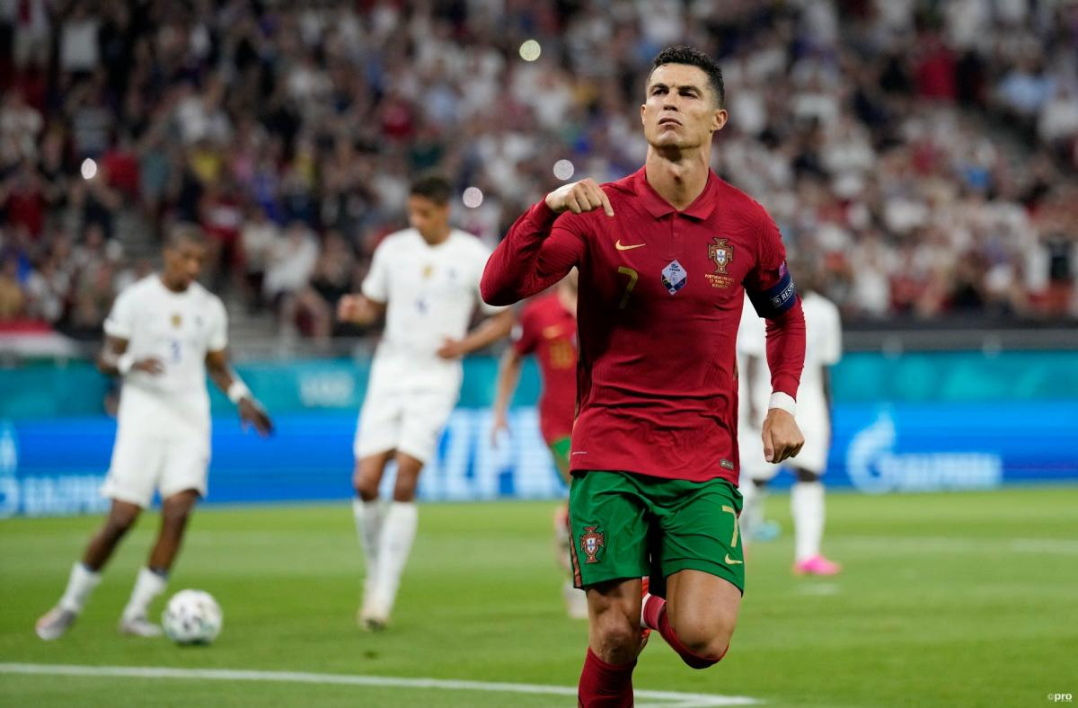 Juventus star Cristiano Ronaldo celebrates equalling Ali Daei's record for international goals for Portugal against France at Euro 2020.