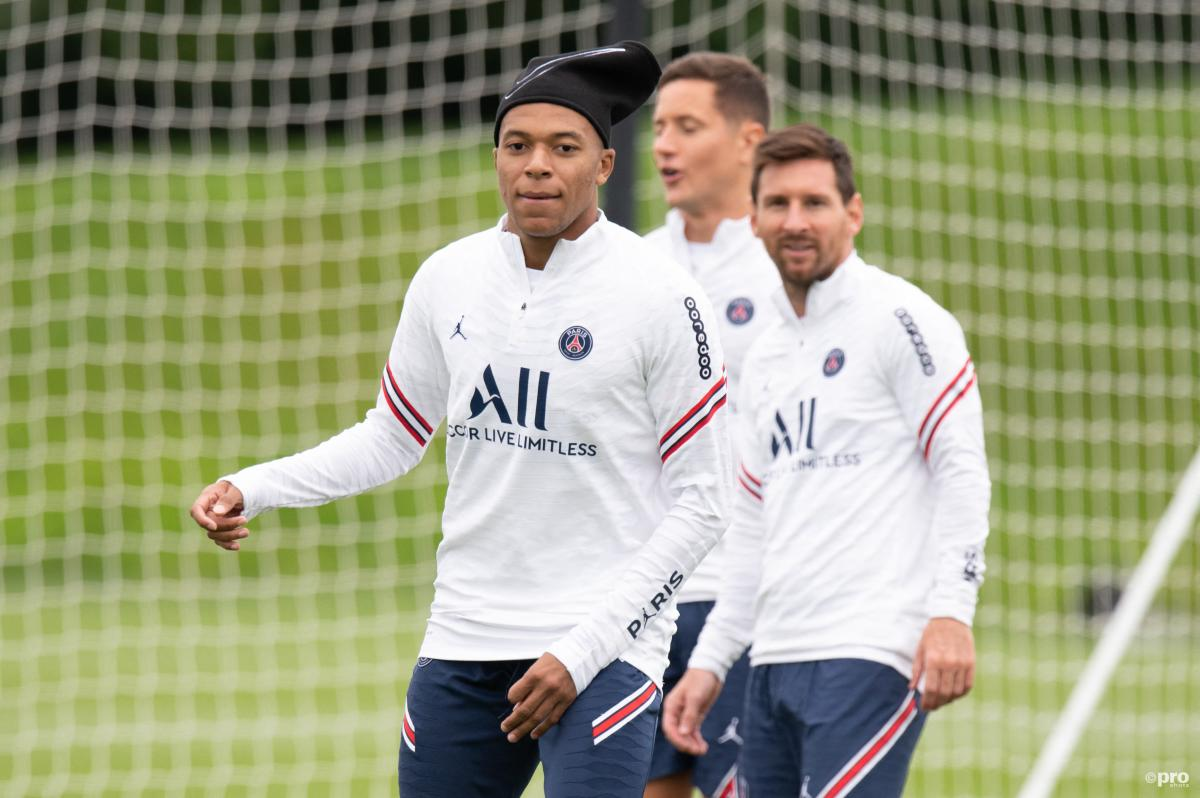 Kylian Mbappe and Lionel Messi at PSG training
