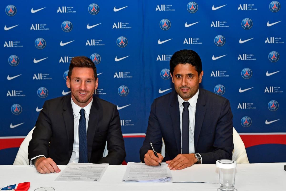 Lionel Messi and PSG CEO Nasser Al-Khelaifi