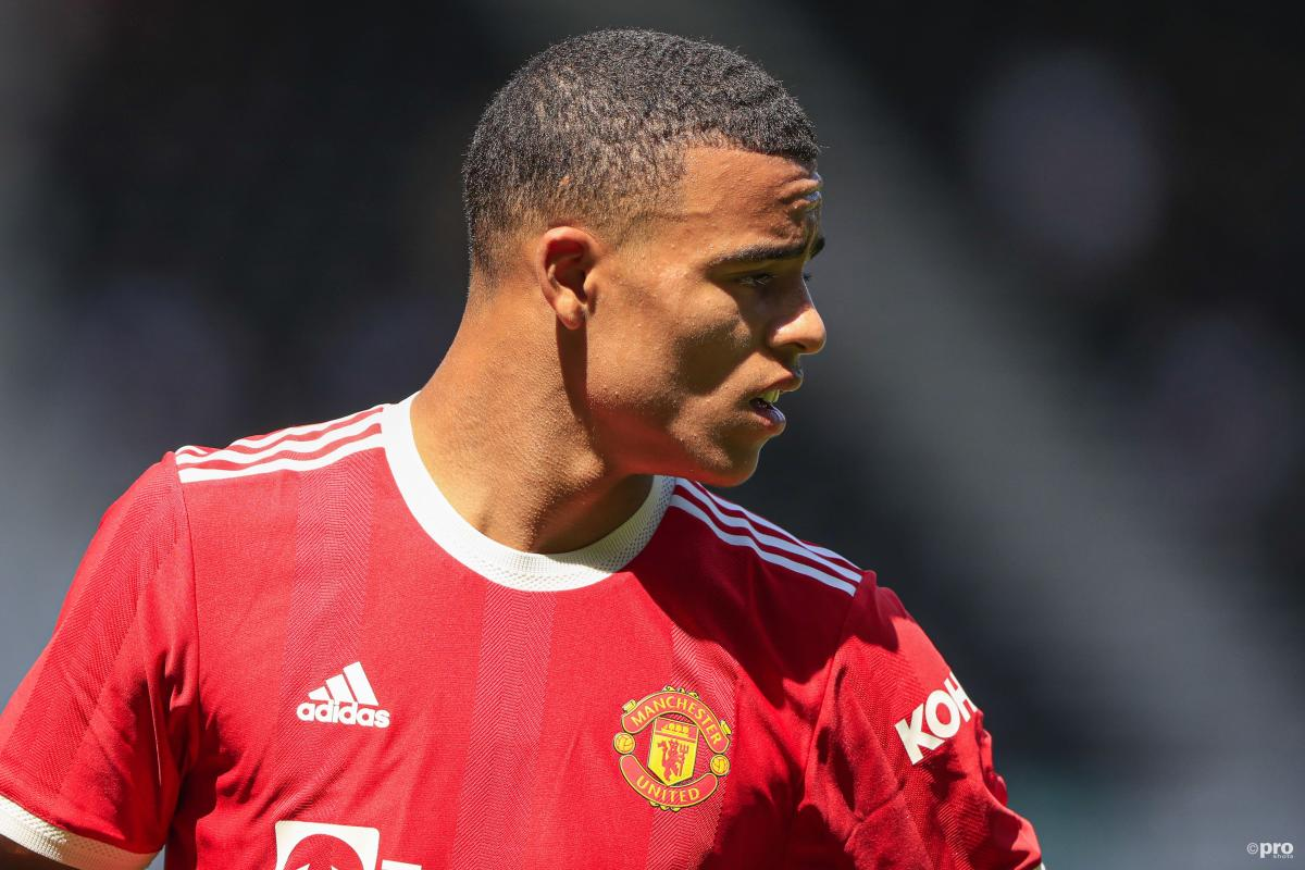Mason Greenwood playing in a pre-season friendly for Manchester United against Derby County