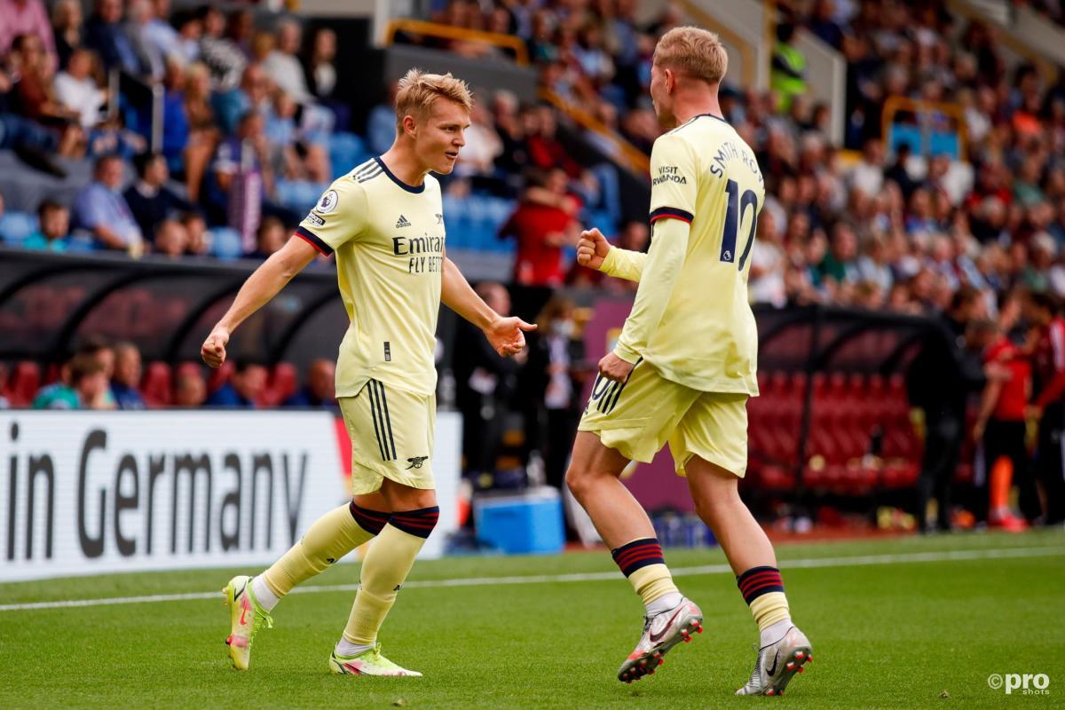 Martin Odegaard scores against Burnley