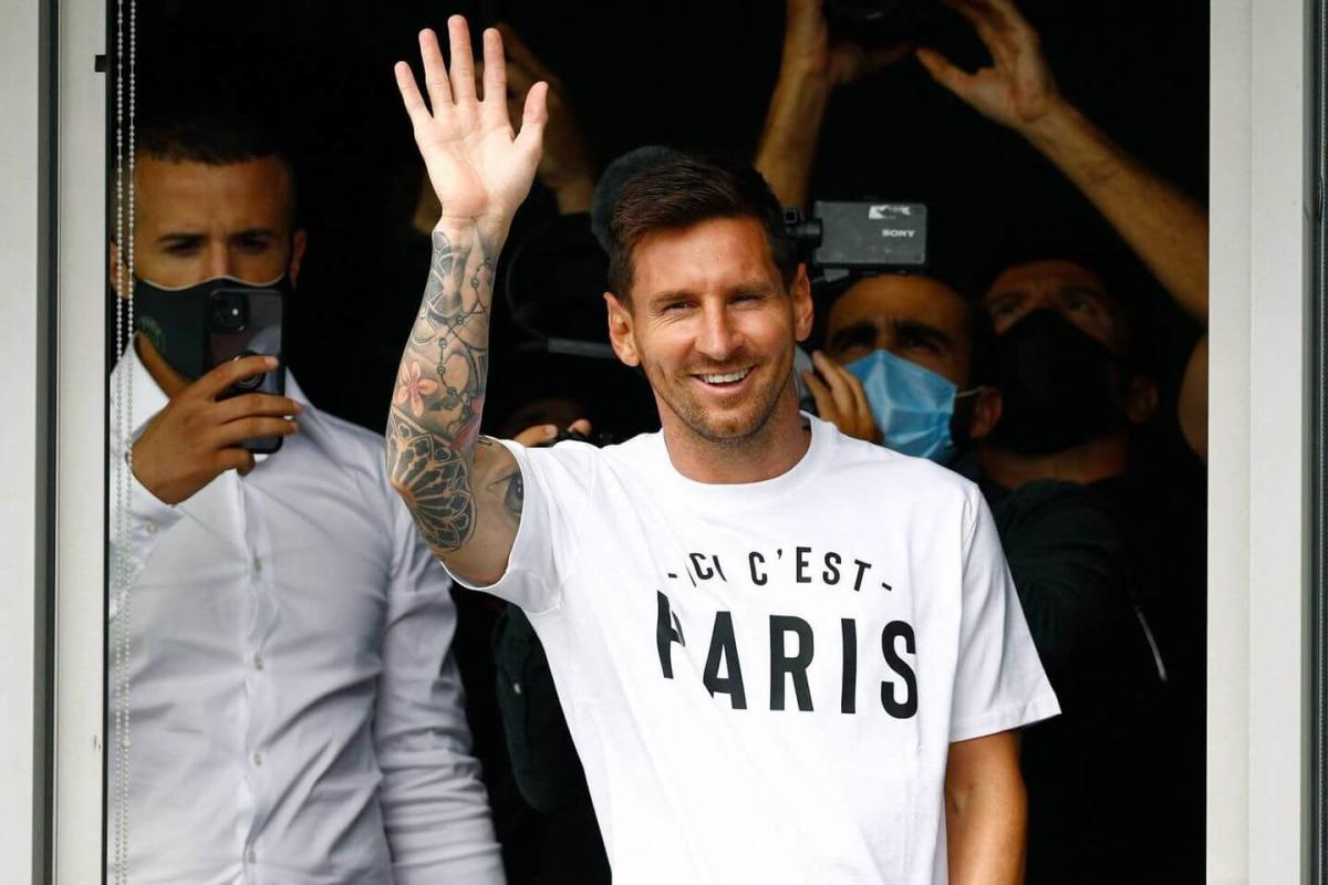Lionel Messi in Paris after signing for PSG from Barcelona