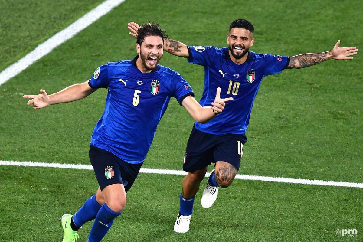 Sassuolo midfielder Manuel Locatelli celebrates after scoring for Italy against Switzerland at Euro 2020