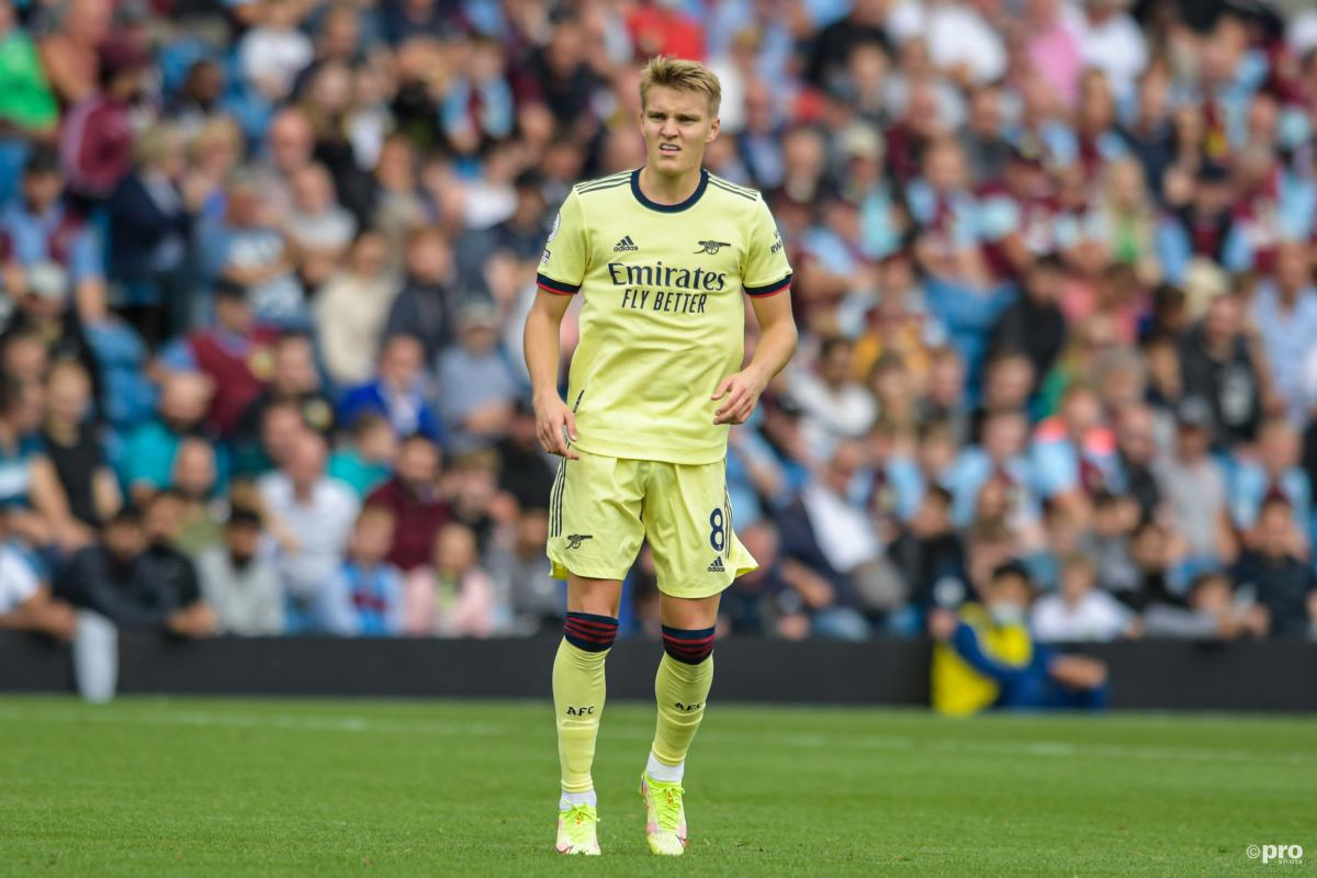 Martin Odegaard playing for Arsenal, 2021/22