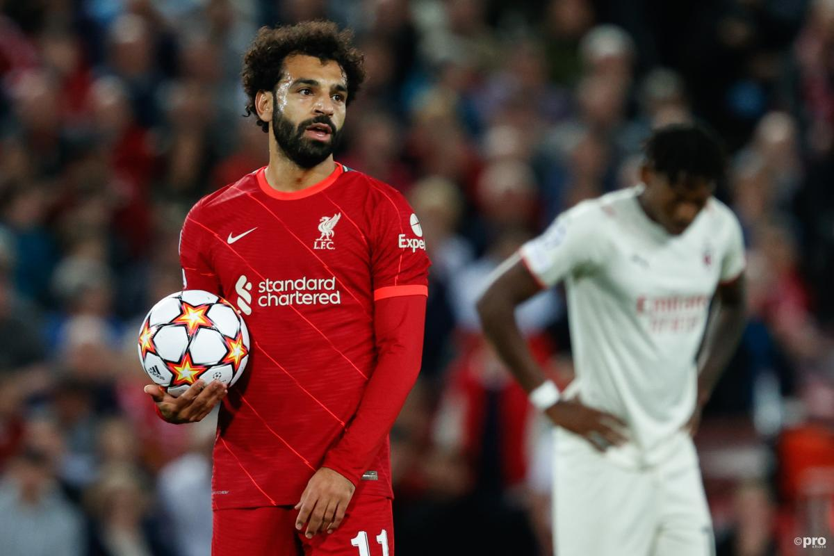 Mohamed Salah in action during Liverpool v Milan in the Champions League