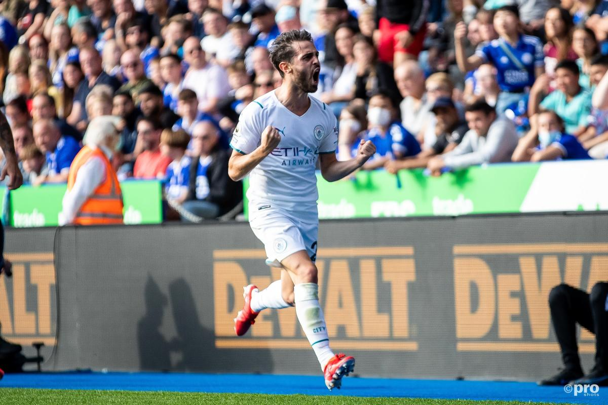 Bernardo Silva celebrates scoring for Manchester City in a Premier League match against Leicester City at the King Power Stadium in 2021