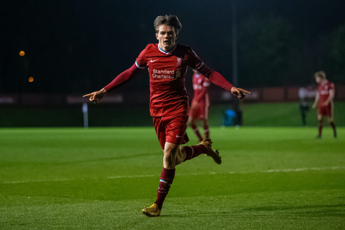 Ethan Ennis celebrates scoring for Liverpool Under 18's in the FA Youth Cup against Sutton United Under 18's at Kirkby Academy