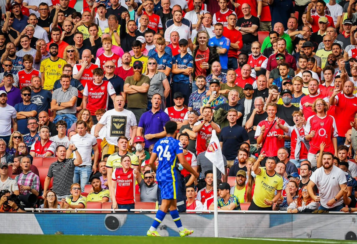 Reece James in front of angry Arsenal fans