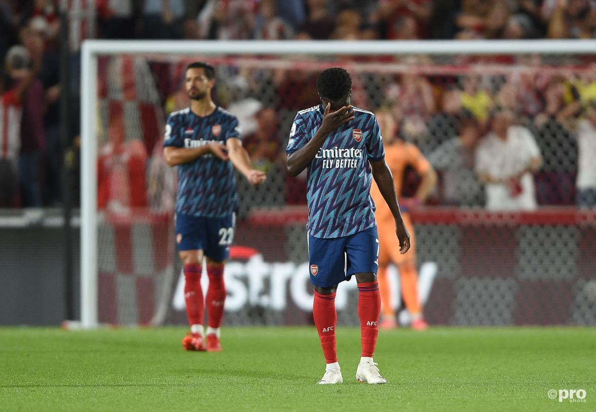 Arsenal's Bukayo Saka reacts during the 2-0 Premier League loss to Brentford