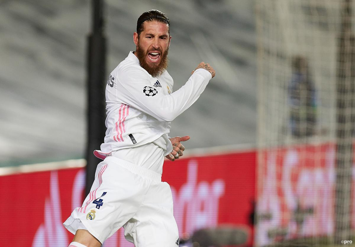 Sergio Ramos celebrates scoring for Real Madrid against Atalanta in the Champions League