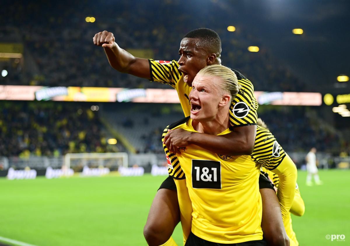Dortmund's Erling Haaland celebrates a goal with Youssoufa Moukoko