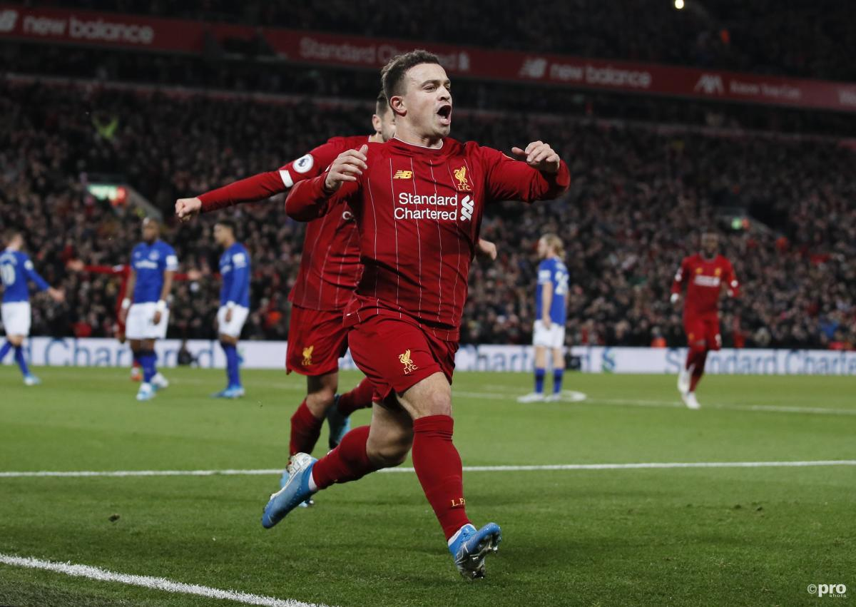 Xherdan Shaqiri celebrates scoring against Everton for Liverpool