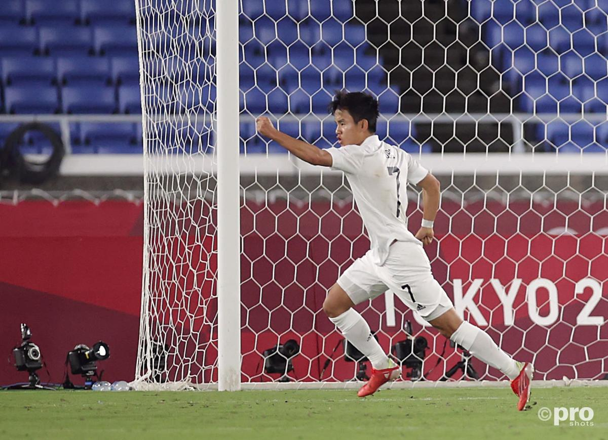 Real Madrid's Takefusa Kubo celebrates after scoring against France at the Olympics