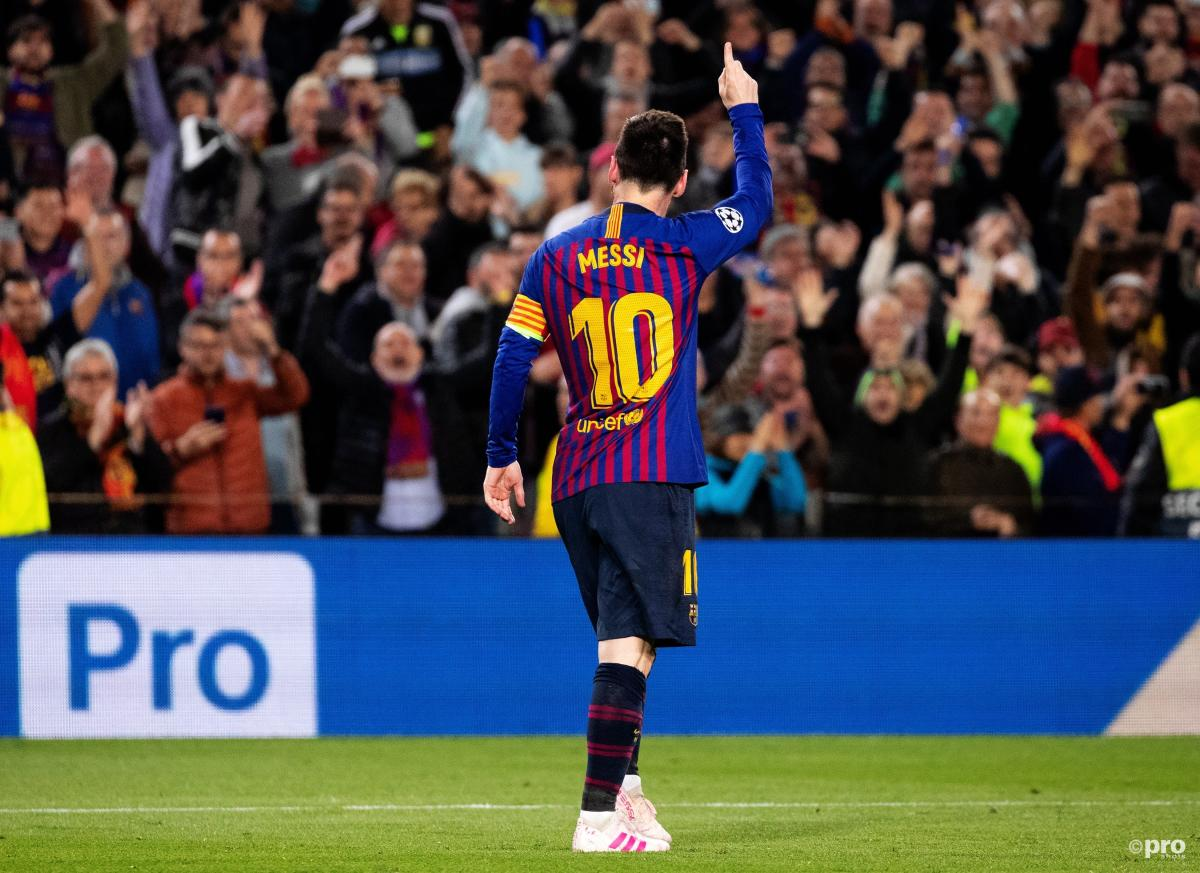 Lionel Messi celebrates scoring a spectacular goal for Barcelona against Liverpool in the Champions League semi-final first leg in 2019 against Liverpool at the Camp Nou.