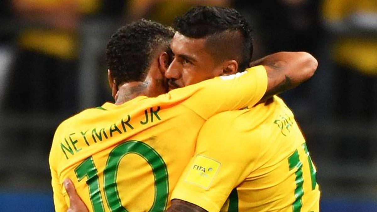 Neymar and Paulinho, Brazil