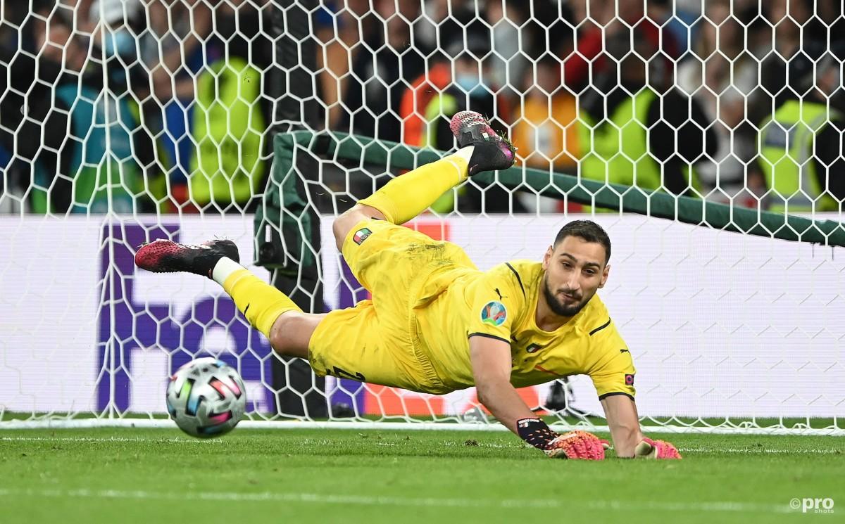 Donnarumma saves from Saka, Italy v England, Euro 2020