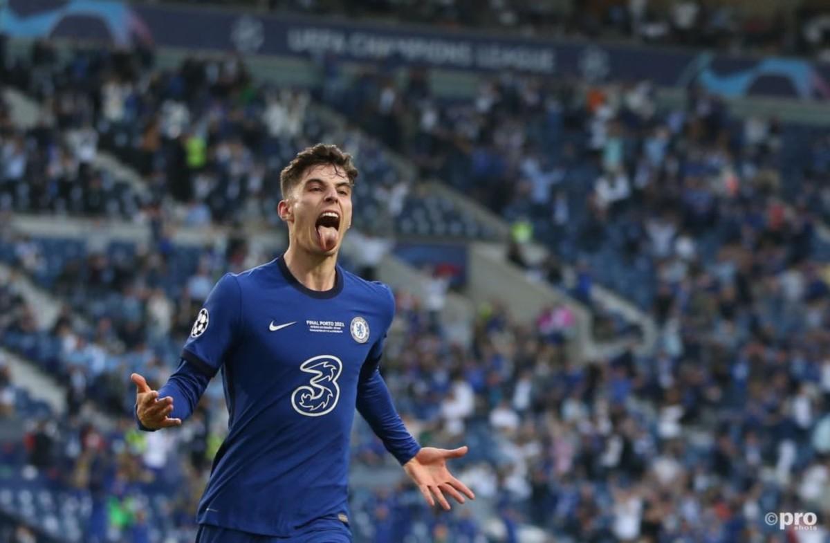 Kai Havertz celebrates the only goal of the 2021 Champions League final