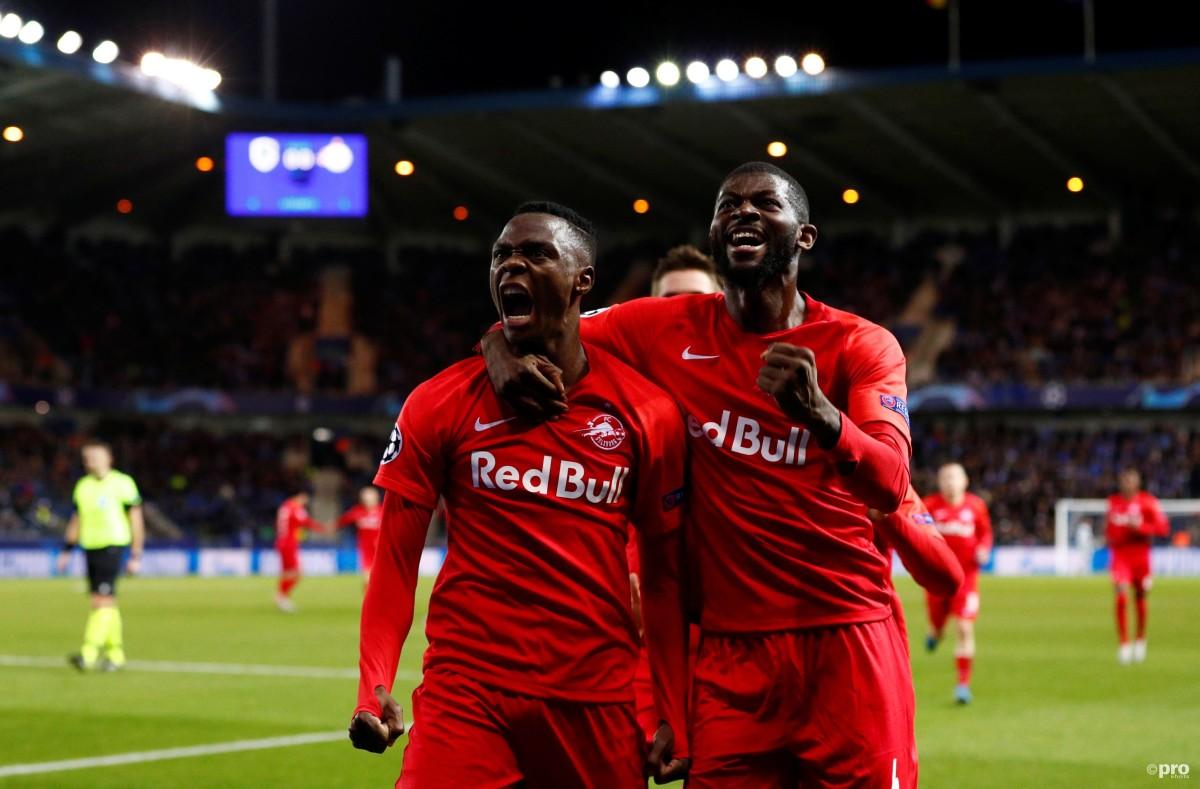 New Leicester signing Patson Daka celebrates scoring to Red Bull Salzburg