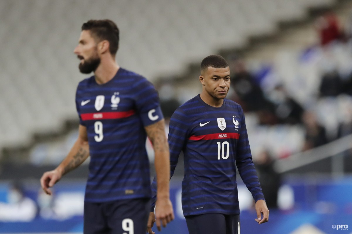 Olivier Giroud and Kylian Mbappe in a Euro 2020 warm-up game, France, 2021
