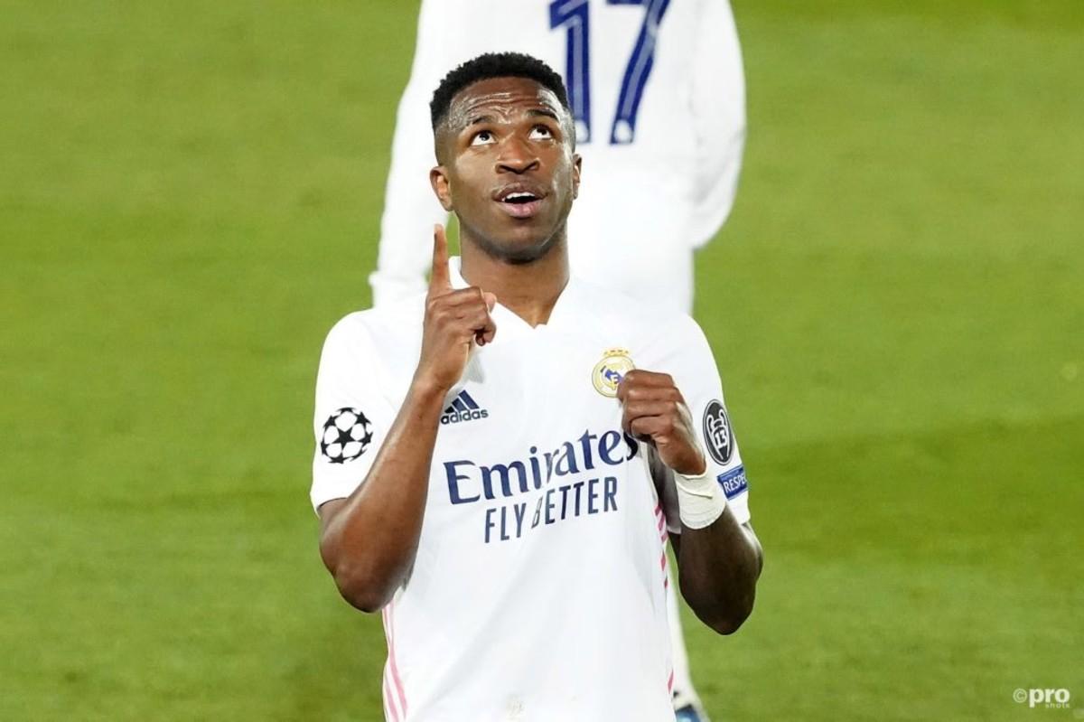 Vinicius Junior celebrates his goal against Liverpool