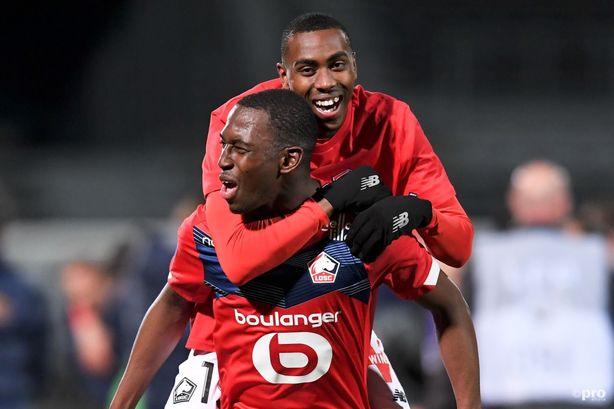 New Leicester signing Boubakary Soumare celebrates winning the 2020/21 Ligue 1 title with Lille