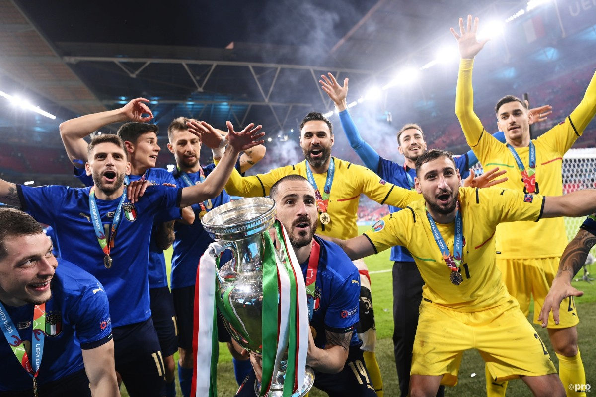 Leonardo Bonucci lifts the Euro 2020 trophy at Wembley after Italy defeated England on penalties